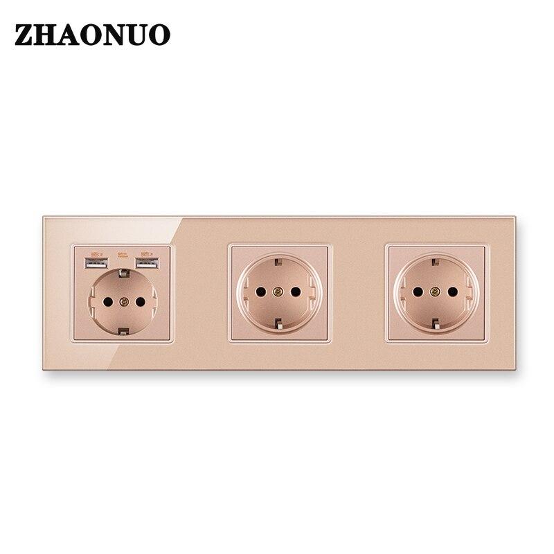 الجدار مقبس USB الاتحاد الأوروبي القياسية الكهربائية الكريستال والزجاج لوحة ألمانيا الاتحاد الأوروبي المقبس مع منفذ USB AC110-250V 16A