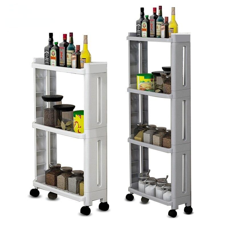 2/3/4 طبقات المطبخ تخزين الرف ، رفوف الحمام الرف مع 4 عجلات ، للإزالة بكرة المحمول المنظم الرف ، عربة رف البضائع