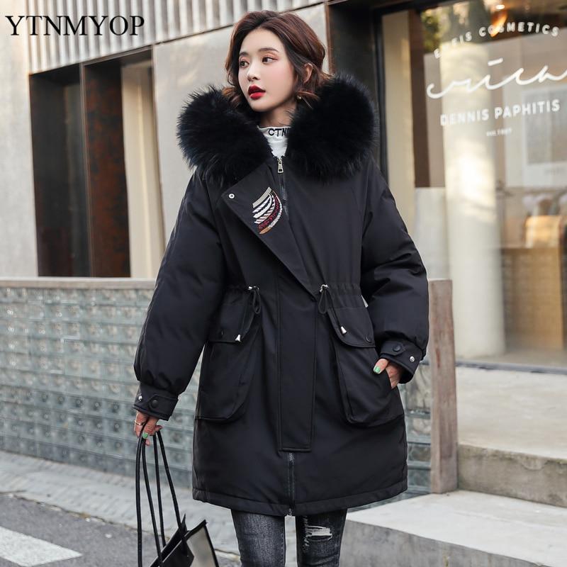 YTNMYOP ملابس الثلوج بطانة الفراء الدافئة جاكيتات مكتب سيدة سليم موضة جيوب كبيرة سترات النساء سماكة المعاطف الدافئة أبلى