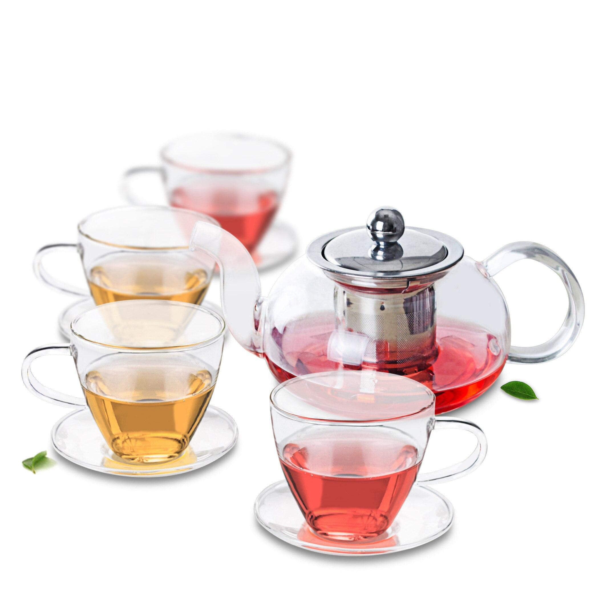 1x طقم شاي زجاجي مقاوم للحرارة-إبريق شاي 625 مللي ث/مصفاة وغطاء ستانلس ستيل + 4x طقم من 160 مللي أكواب الشاي والصحون