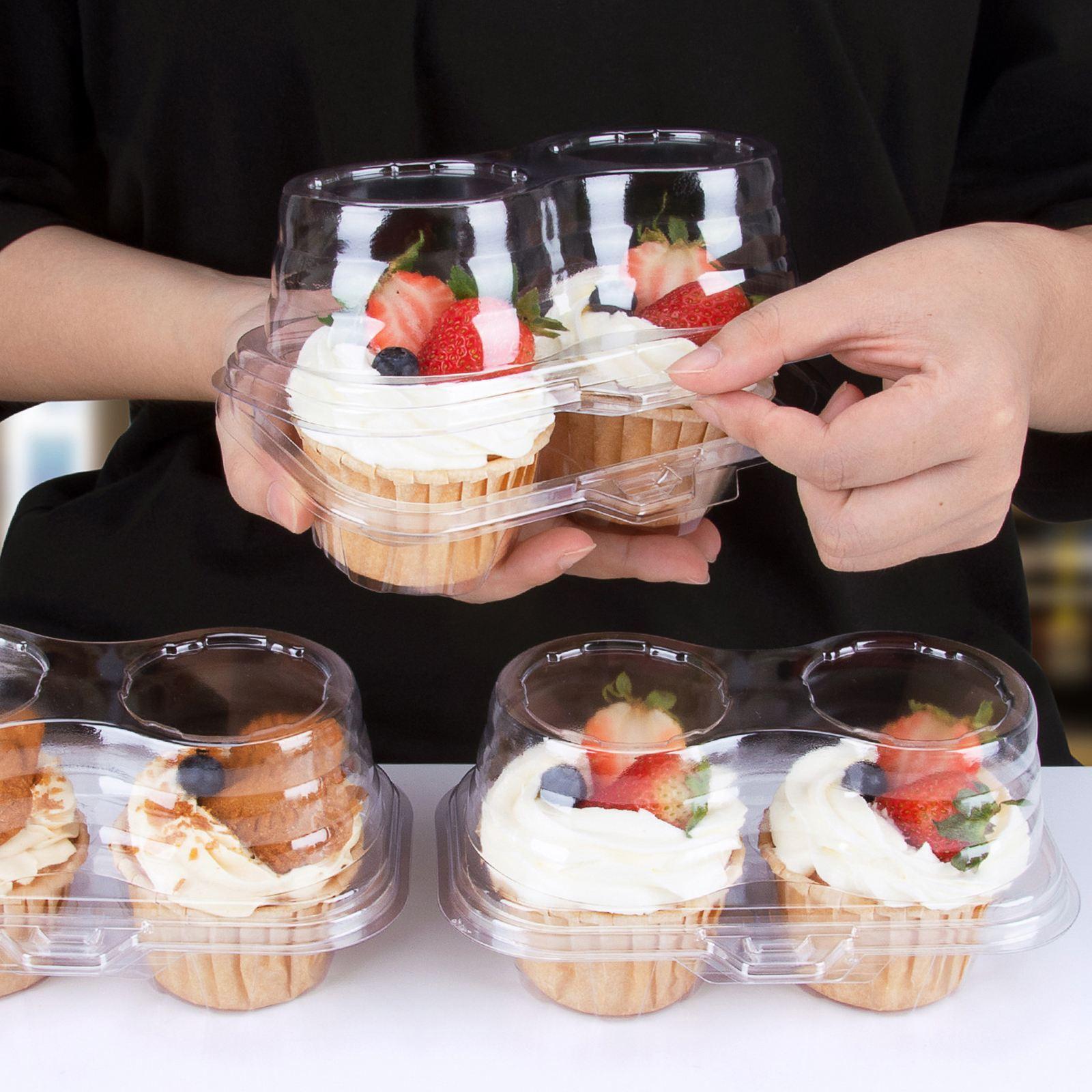 Caixa de Bolo Caixa de Sobremesa Caixas de Bolo Duráveis e Caixa de Embalagem para Festa de Casamento Lojas de Bolo de Aniversário Transparente Buraco Cozimento 50 Pçs 2