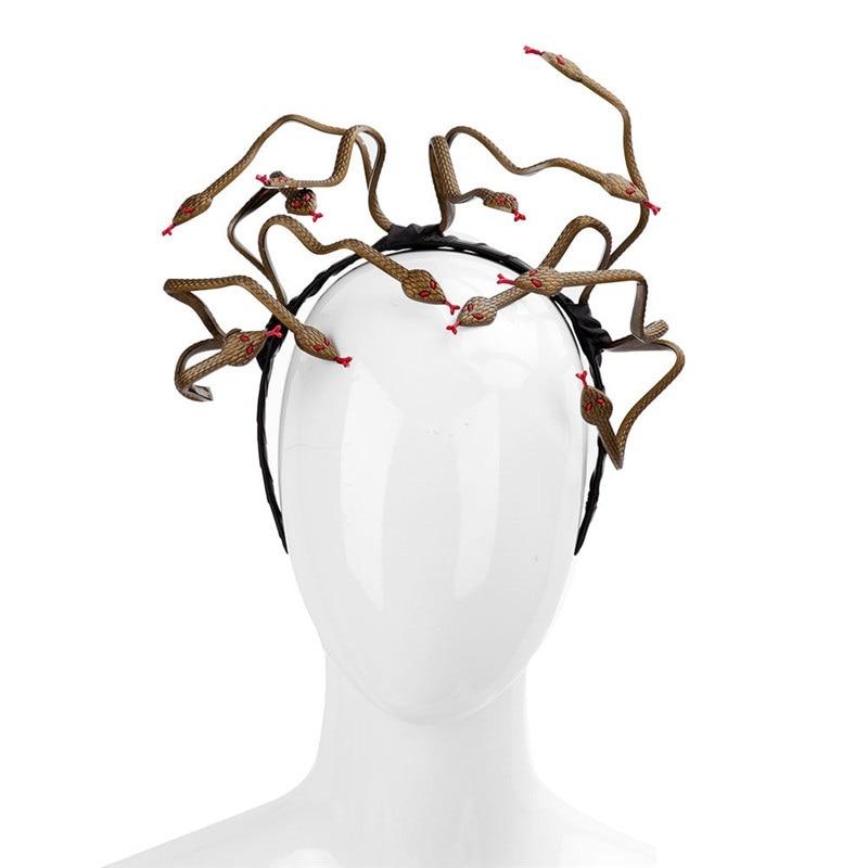 Nuevo Mardi Gras accesorios de cabello para Halloween Medusa serpiente diadema Cosplay disfraz tocado