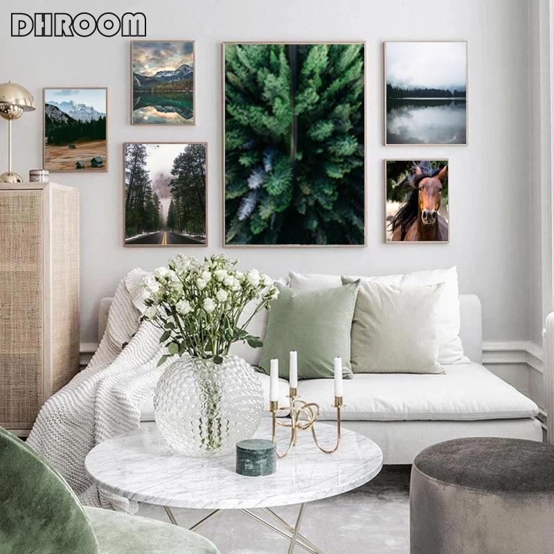 Paisaje nórdico naturaleza lienzo pintura obra de arte con montaña para pared caballo bosque carteles e impresiones imágenes para la decoración del hogar de la sala de estar