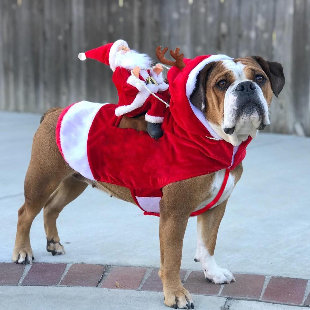 Ropa para perros de Navidad para mascotas disfraces de Santa fiesta de vacaciones ropa para vestir para mascotas fiesta de Navidad Cosplay Santa perro rojo abrigo
