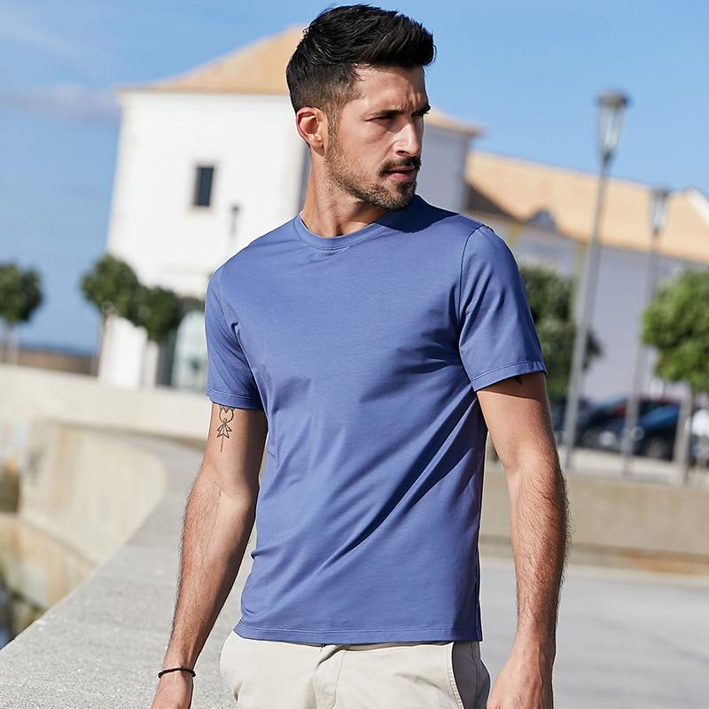 Kuegou algodão liso modal tshirt legal branco camisa masculina roupas de verão do homem manga curta t camisa masculina superior plus size DT-5939