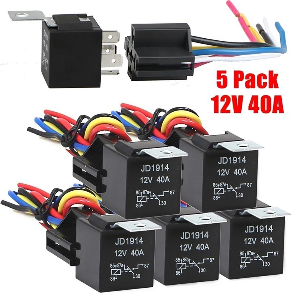 Jd1914 5 pces 5-pin carro automóvel veículo 12 v 40a relé base soquete controle fio conjunto