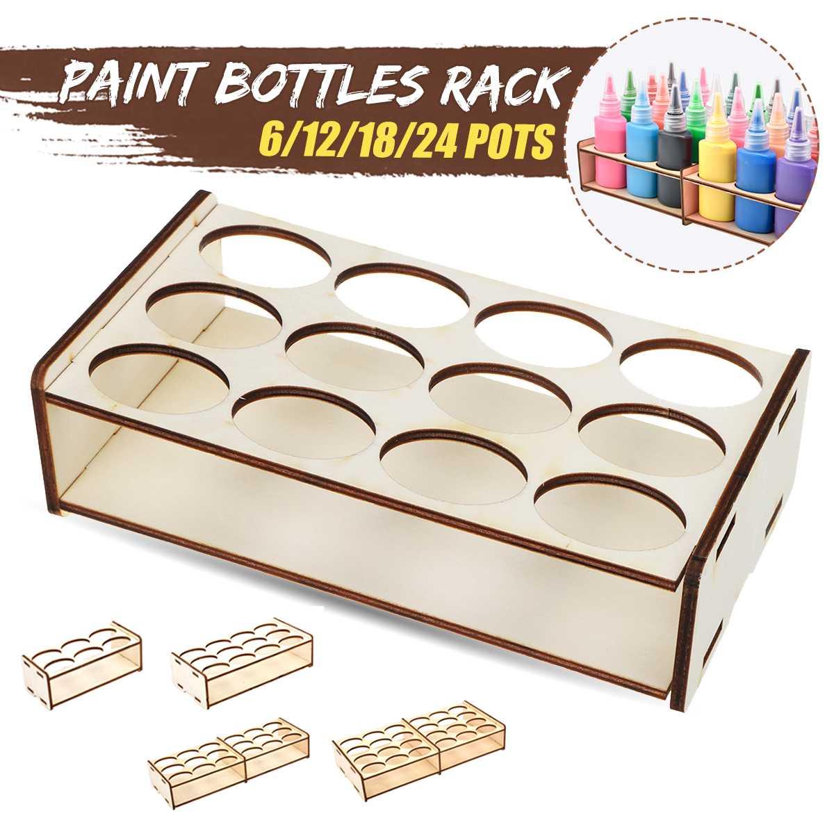 Suporte organizador para artesanato, equipamento e organizador para armazenamento de 6/12/2020 potes, pigmento de madeira, garrafa, novo, 18/24
