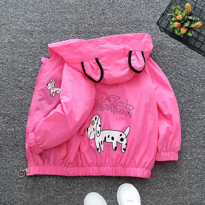 2021 Spring Summer Autumn Girls Boys Cute Cartoon Print Hooded Jacket Baby Kids Children Thin Coat Two Colors