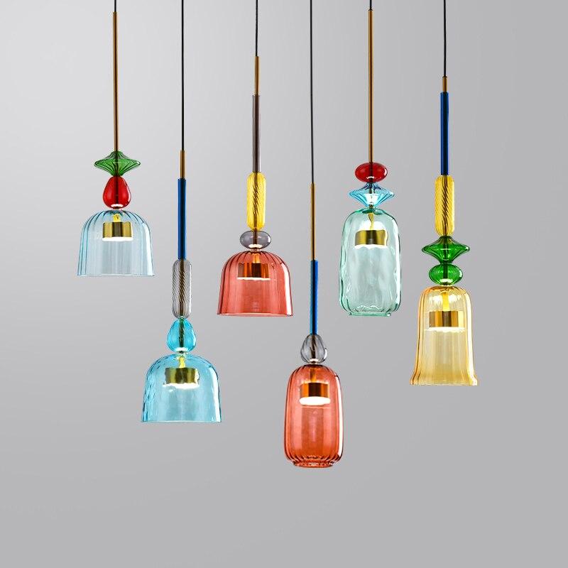 Подвесные светодиодные светильники из цветного стекла, яркие декоративные люстры для гостиной, столовой, подвесной светильник