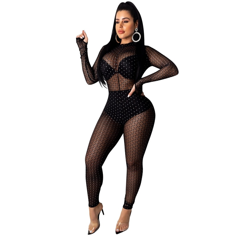 Sexy Club Jumpsuits Overalls for Women Elegant Glitter Mesh Party Jumpsuit Romper Long Sleeve One Piece Black Bodycon Jumpsuit seduction beltless mesh sheer sexy cut out jumpsuits bodycon 2020 long sleeve party club rompers womens jumpsuit black overalls