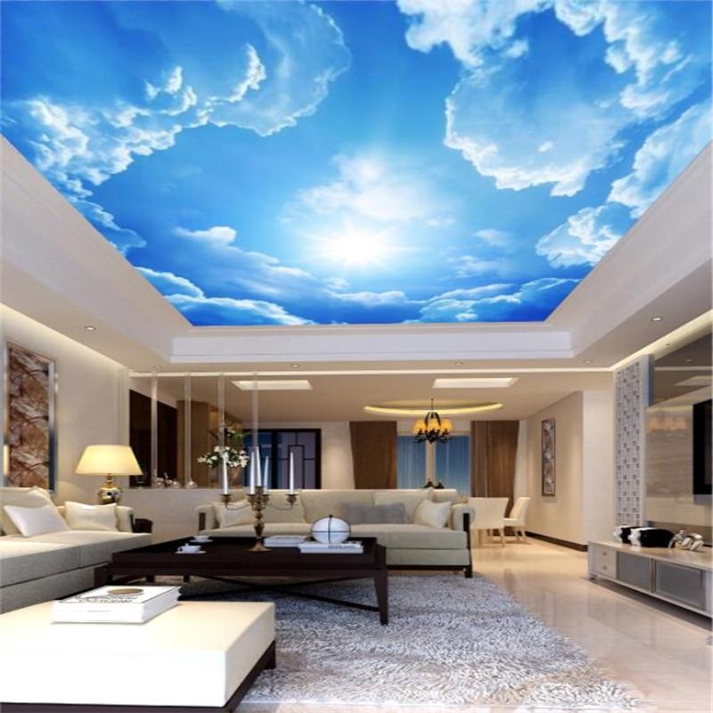 Обои beibehang на заказ, простые современные потолочные 3D-обои с рисунком облаков, неба, солнца, европейская гостиная, гостиница, потолок
