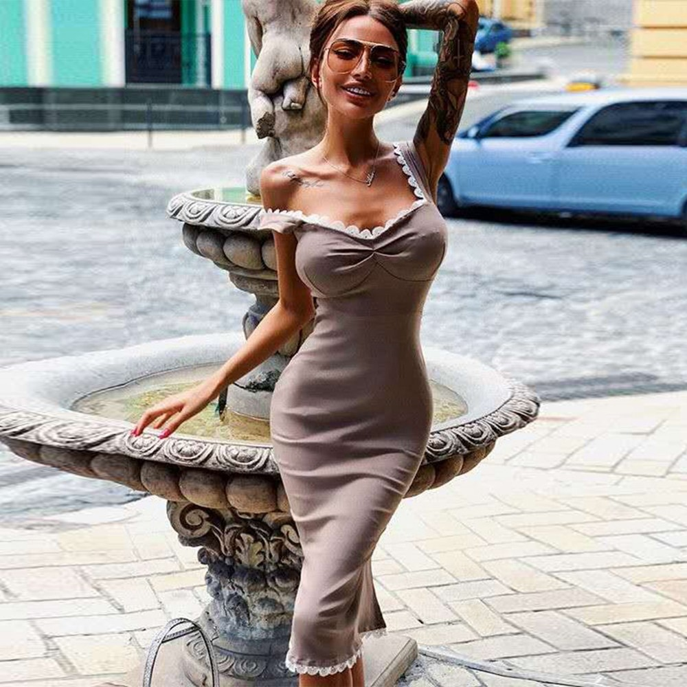 Ocstrade Vestido Bandage Dress Women 2020 New Summer Nude Scalloped Elegant Midi Bodycon Sexy Party