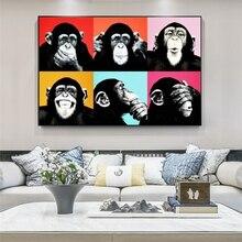 Graffiti Art drôle singe toile peintures sur le mur Art affiches et impressions animaux Pop Art photos pour enfants chambre décoration murale