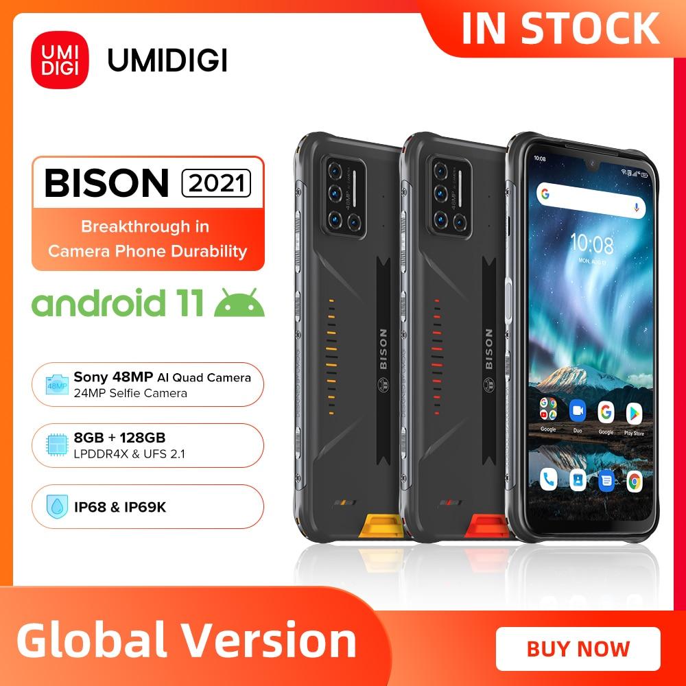UMIDIGI BISON 2021 NFC Android 11 Smartphone IP68/IP69K Waterproof Rugged Phone 8GB+128GB 48MP Matrix Quad Camera FHD+ Display