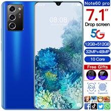 2021 Note60Pro 32+48MP 256GB/512GB 10 Core 5G Smart Phone MTK6889 7.1 Inch Full Screen Dual SIM+Micr