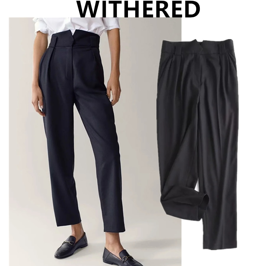 Withered england office lady fashion simple high waist suit pants women navy pantalones mujer pantalon femme trousers women sets