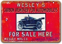 wesleys carbon remover for autos car metal tin sign sisoso vintage plaques poster man cave garage retro wall decor 12x8 inch