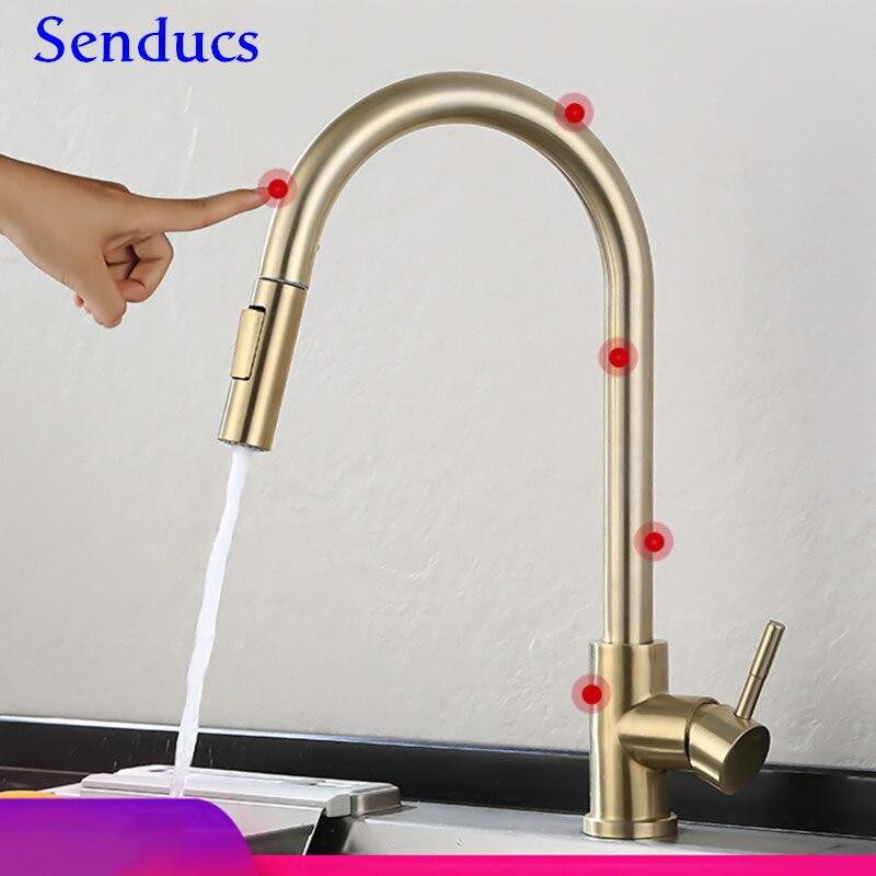 Toque de ouro torneira da cozinha senducs pull out toque misturador da cozinha qualidade aço inoxidável sensor água torneira da cozinha ouro
