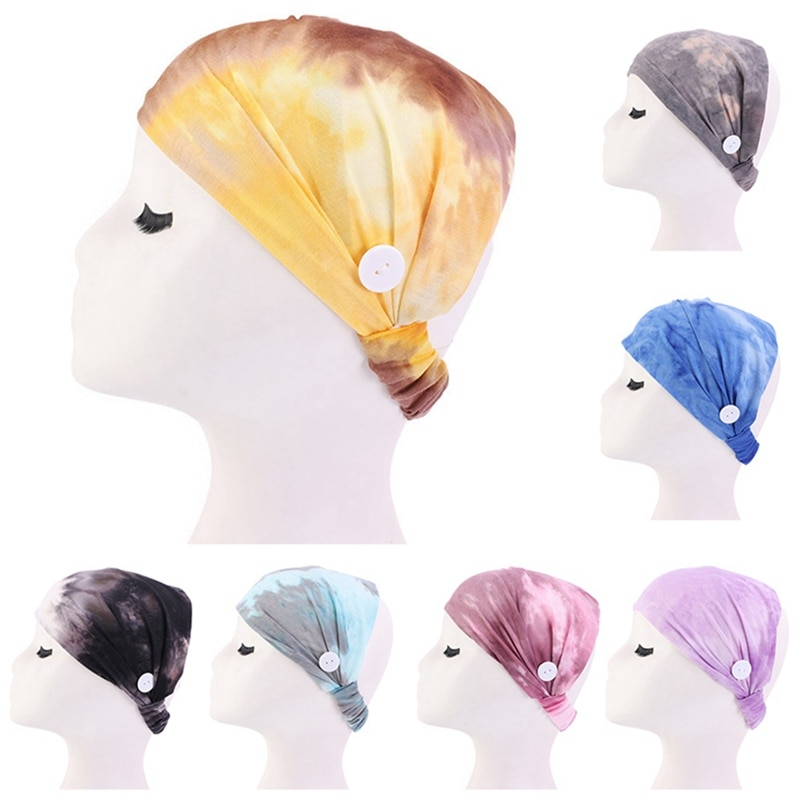 Tie-dye Hairband With Button Mask Holder Wearing Protect Ears Headband Elastic Sweatband Sports