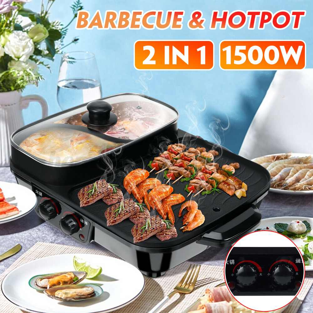 1600w electric shabu roasted pot multifunctional electric pan grill bbq grill raclette grill electric hotpot with grill pan 2 IN 1 1500w Electric BBQ Grill Multi Cookers Smokeless Nonstick Roasted Barbecue Pan Hot Pot 220v Electric Griddle Baking Pan