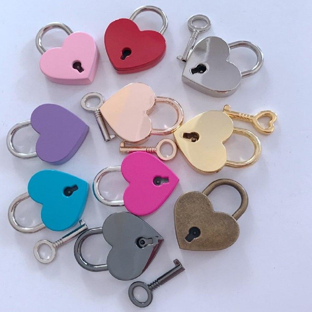 Heart Shape Padlocks Vintage Old Antique Style Mini Padlocks With Key Lock for Travel Wedding Jewelry Box Diary Book Suitcase