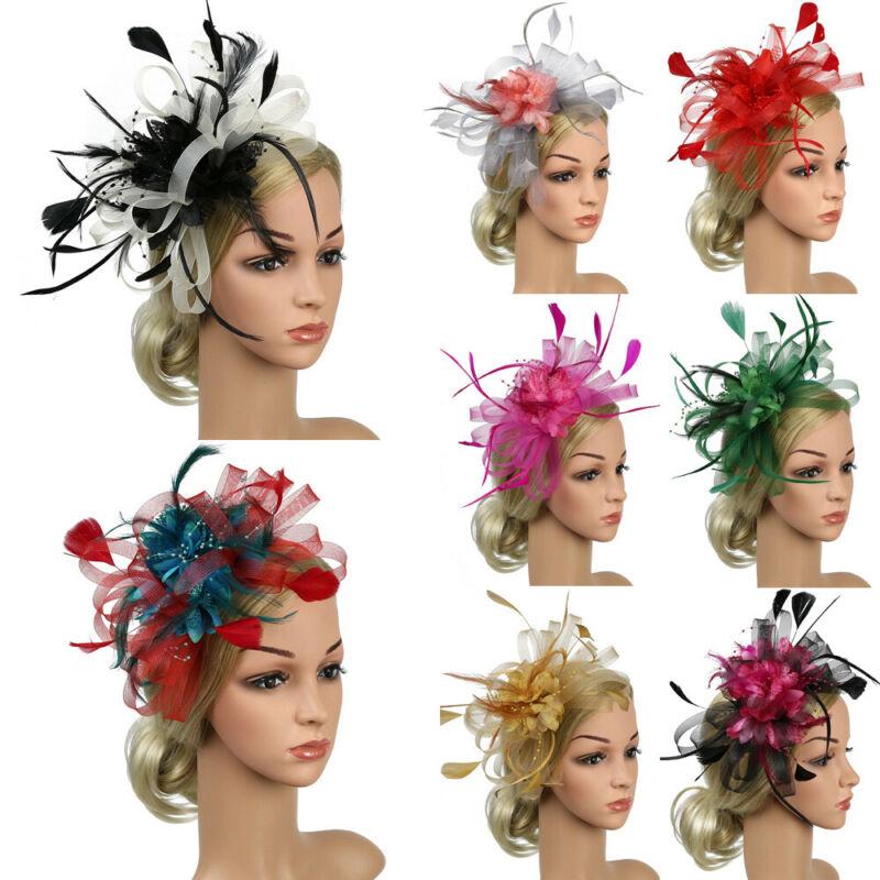Womens Sinamay Fascinator Cocktail Party Hat Wedding Church Kentucky Derby Dress Fedoras Flower Feather Hat Mesh Headpiece