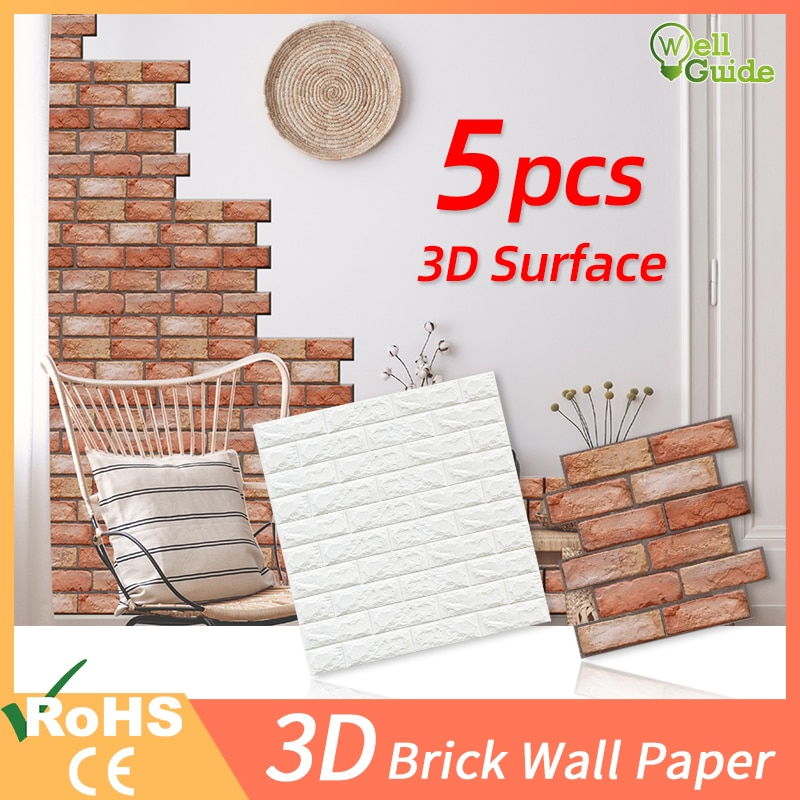 1pc/5pcs 3D Wall Paper Brick Wall Stickers Waterproof DIY Self-Adhesive Decor For Bedroom Kids Room Living Room Wallpaper Paper 3d retro simulated brick wallpaper for living room bedroom diy wall decor self adhesive waterproof wall covering wall stickers