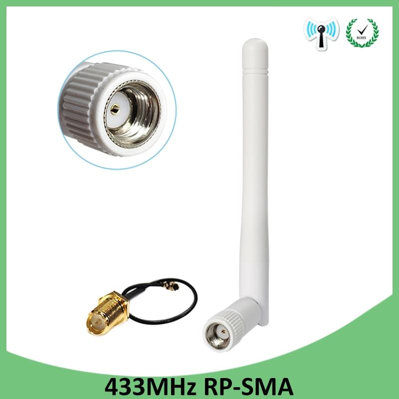 433Mhz antena 3dbi GSM 433 mhz RP-SMA conector goma 433 m Lorawan antena + IPX a SMA Cable de extensión macho Cable Pigtail