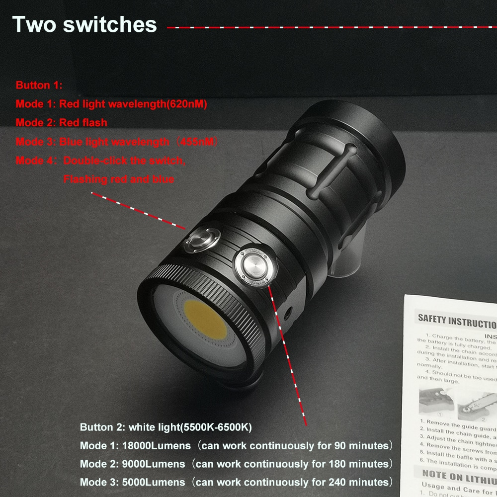 D10 LED Diving Flashlight Super Bright 18000Lumens COB LED 100M Waterproof Underwater Tactical Torch White Blue Red Fill Light enlarge
