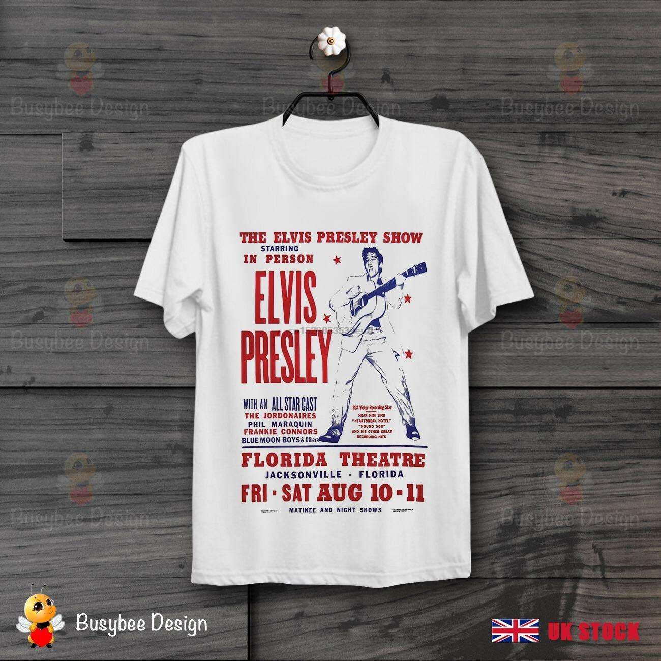 Camiseta Unisex de los años 50 Rock And Rool del cartel de la Florida de la exhibición de Elvis pres