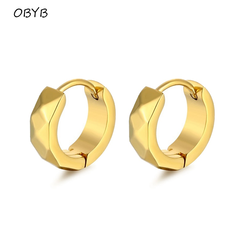 OBYB Dia 9mm 316L Prevent Allergy Ring-shaped Ear Buckle for Women Man Fashion Hoop Earrings Gothic Punk Jewelry Accessories