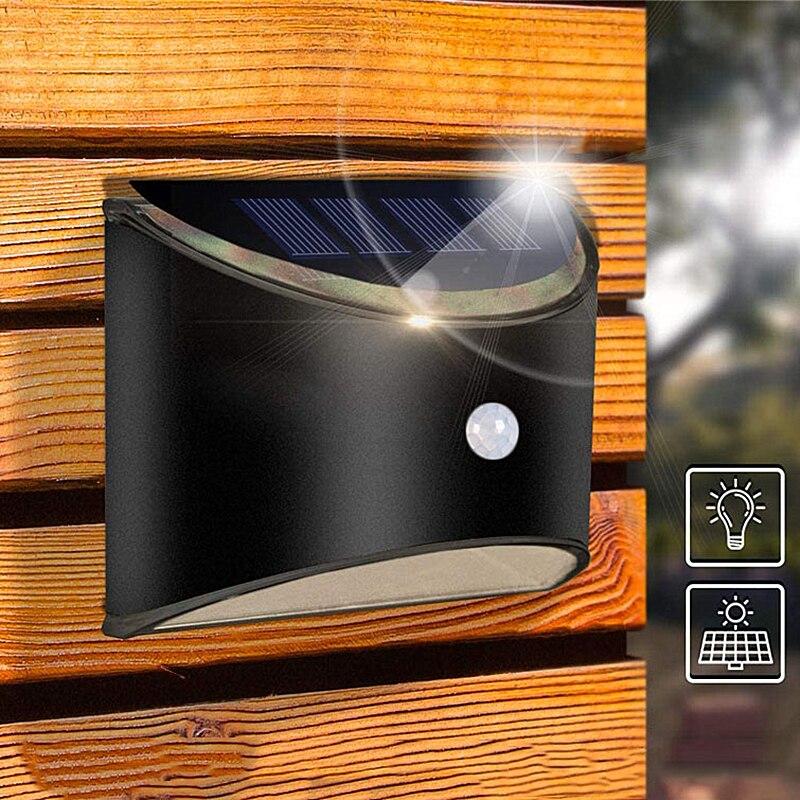 LED Solar Light Outdoor Wall Light Waterproof Garden Wall Lamp Front Door Patio Fence Light with Motion Sensor Warm White 2pcs