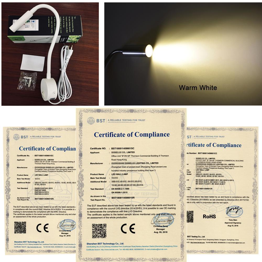 Купить с кэшбэком 2pcs New Design Reading Lamp LED Wall lamp 3W for Bedside Study Book Lamp Black Silver White wall light EU US Plug Cord