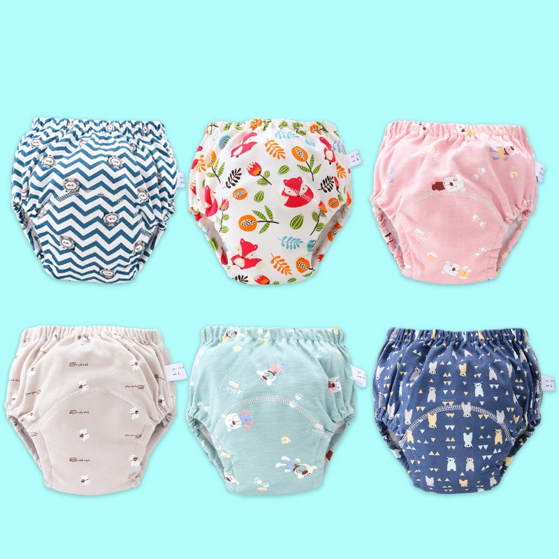 Nuevos pantalones de entrenamiento de algodón reutilizables impermeables para bebés, pantalones cortos infantiles, ropa interior, pañales de tela, bragas para niños, pañales cambiantes