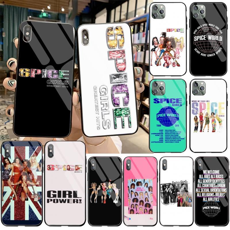 Funda de teléfono CUTEWANAN Spice Girls, cristal templado para iPhone 11 Pro XR XS MAX 8X7 6S 6 Plus SE 2020
