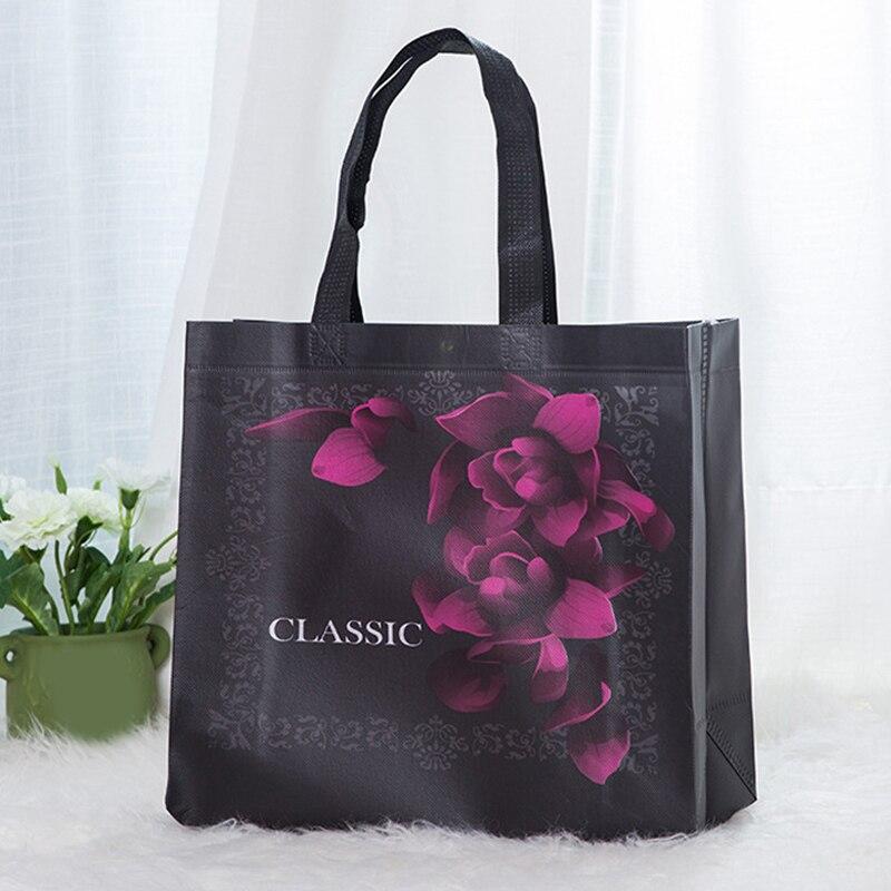 Rose Flower Reusable Shopping Bag Pouch Handbag Travel Storage Non-woven Fabric Folding Foldable Sho