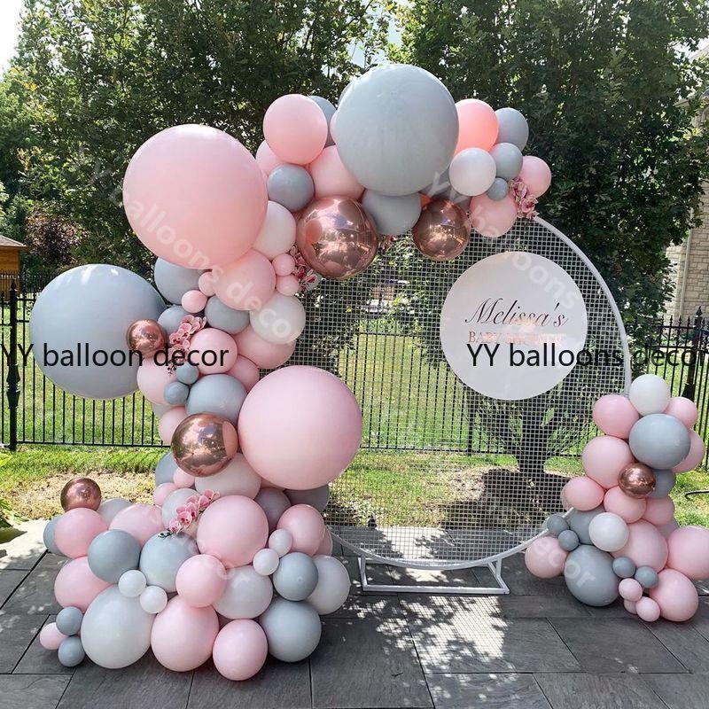 Globo de color macarrón Global Arco 1 rosa gris Rosa oro confeti globo a granel para la decoración de la fiesta de cumpleaños de la boda Baby Shower