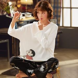 Set  New Long Sleeve Long Pants Sleepwear Fashion Style Casual Style Woman Clothes Pj Set Turn Down Collar Printing Pajamas