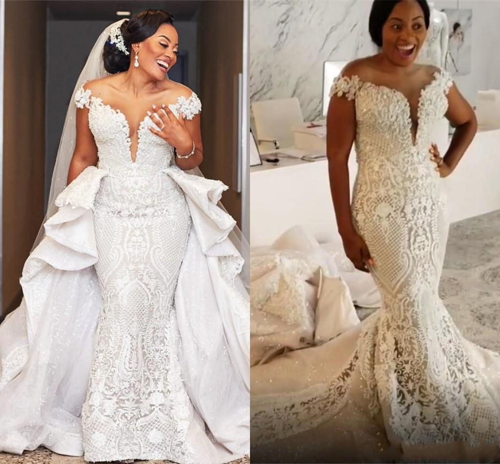 Review Arabic Luxuirous Sparkly Wedding Dresses Lace Beaded Mermaid Bridal Dresses Sheer Detachable Train Wedding Gowns