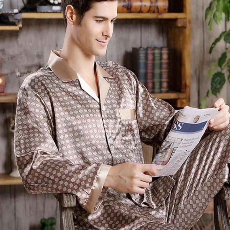Пижама комплект мужская имитация шелк пижамы для мужчин% 27 пижама мягкая уютная домашняя одежда одежда пижамы мужские пижамы комплект пижама сон топы