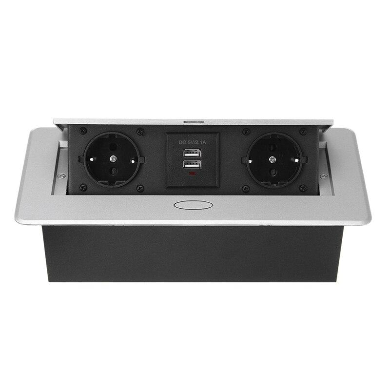 مقبس متعدد الوظائف لسطح المكتب ، سبائك الألومنيوم ، منفذ شحن USB مزدوج ، قابس أوروبي