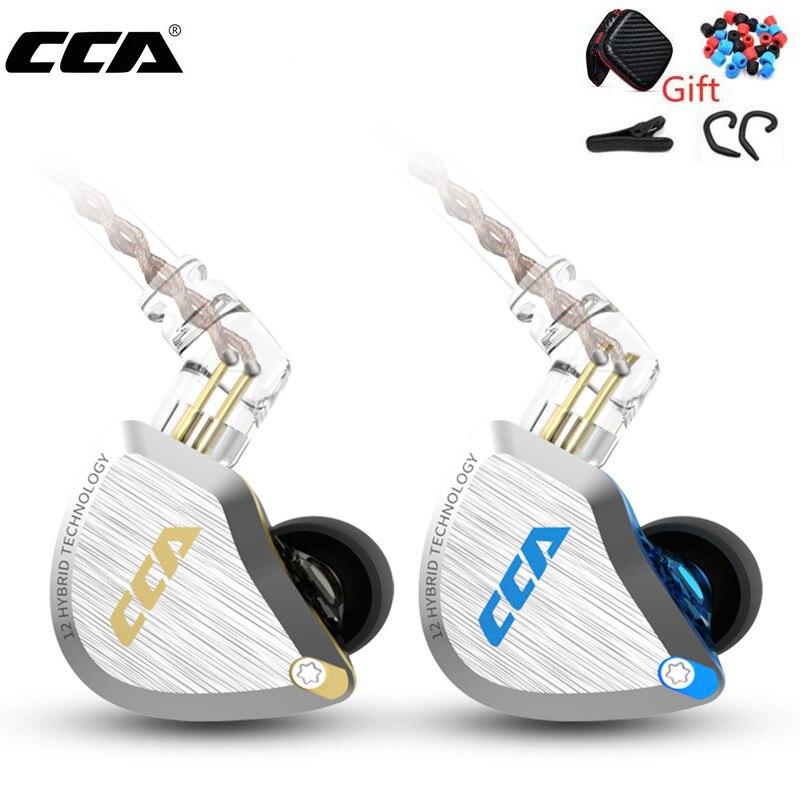سماعات رأس معدنية جديدة CCA C12 5BA + 1DD هايبرد 12 وحدة HIFI Bass داخل الأذن سماعات مع خاصية إلغاء الضوضاء سماعات KZ E10