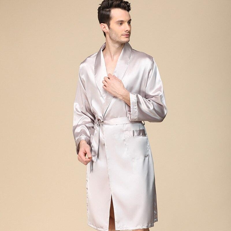 Los hombres solo seda fina traje de primavera Pijamas de manga de...