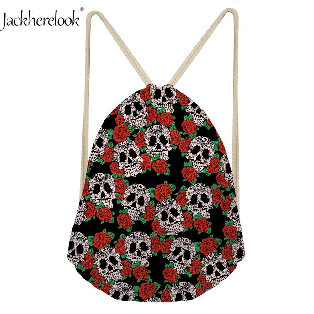 Jackherelook Cool 3D flor calavera impresión viaje Drawsting bolsa lona mochila Halloween caramelo regalo bolsa saco diario bolsas de almacenamiento