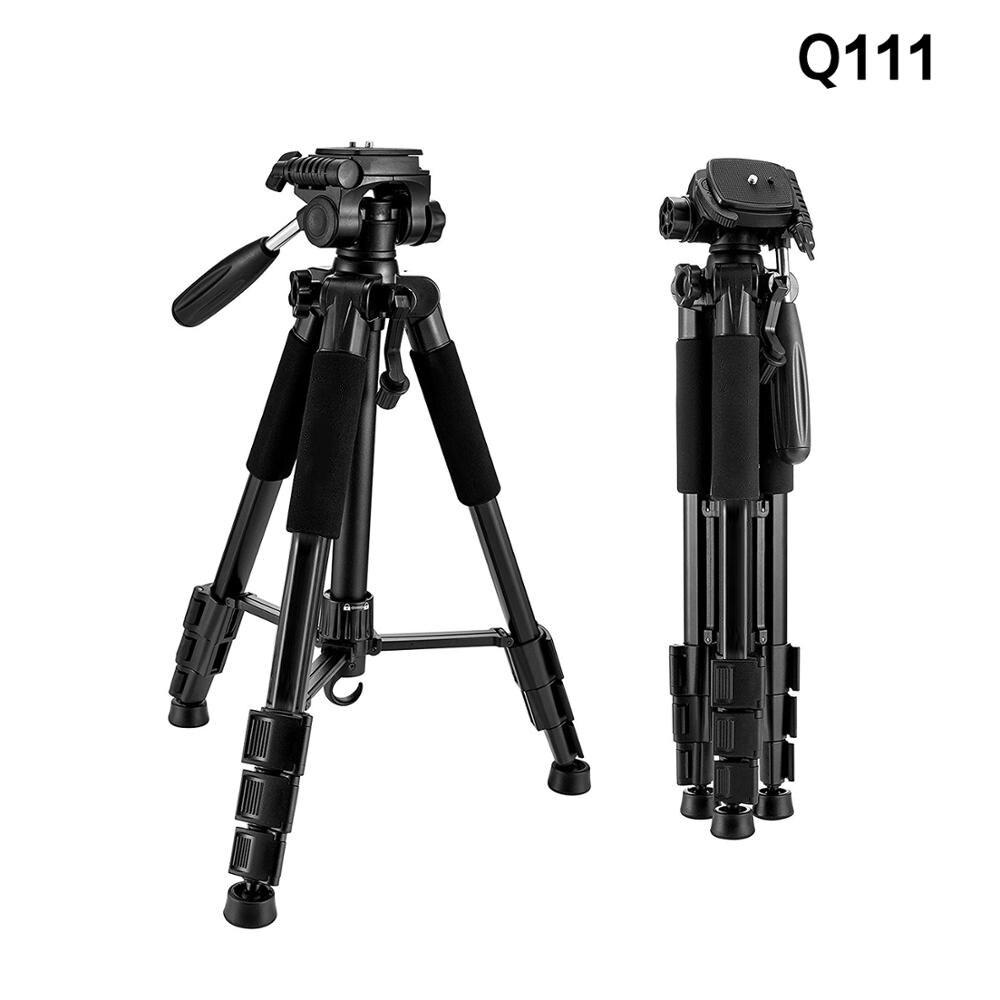 حامل ثلاثي القوائم من الألومنيوم خفيف الوزن Q111 للكاميرا والهاتف الذكي وحامل ثلاثي القوائم للصور للسفر DSLR