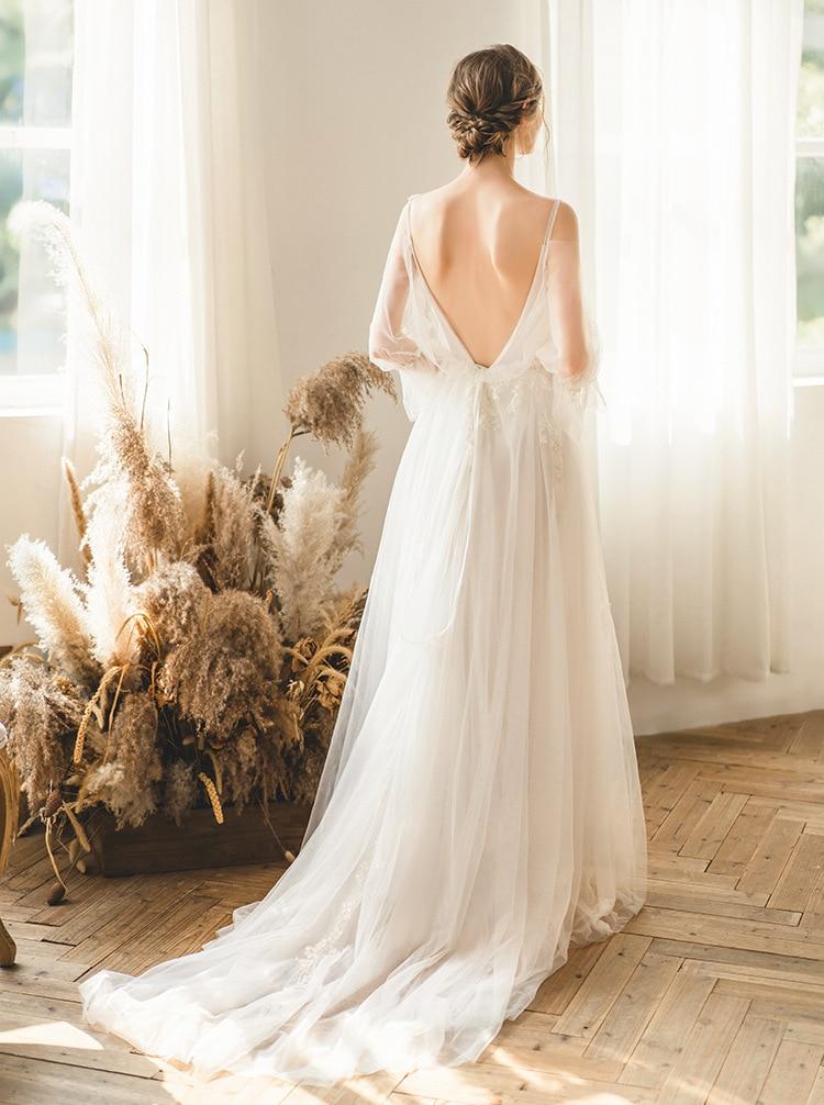 Backless Wedding Dresses Long Sleece Wedding Dress Sexy V-neck A-line Robe De Mariee Luxury Lace Customize Vestido De Noiva