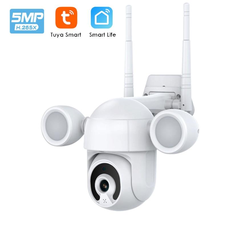 5MP تويا كاميرا الكاشف فناء الإضاءة كاميرا متحركة في الهواء الطلق واي فاي الأمن كام اللون للرؤية الليلية AI كشف الإنسان Onvif