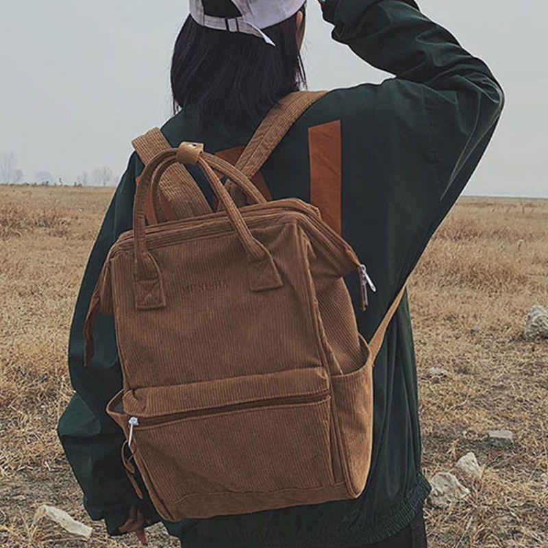 Mochila de viaje de pana para mujer, mochila de Color sólido, mochila para ordenador portátil, mochila escolar, bolso de hombro para adolescente