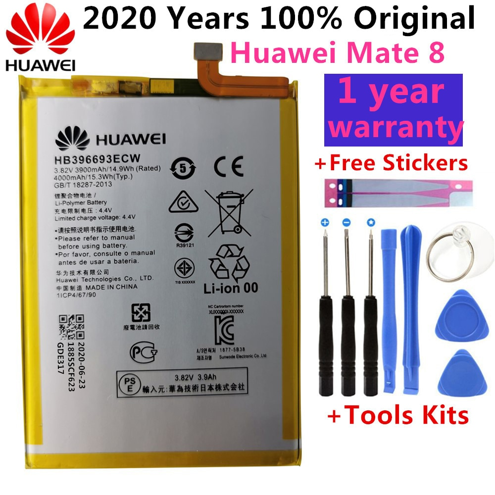 Оригинал, новинка для Huawei Mate 8, фотосессия, фотосессия, HB396693ECW, 4000 мАч, замена батареи, подарочные инструменты + наклейки