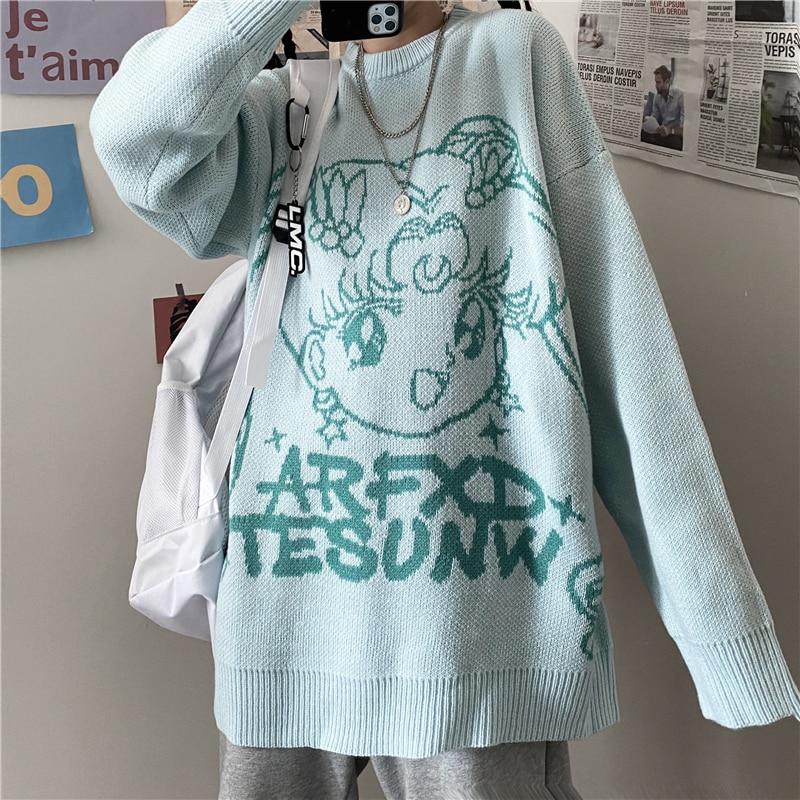 Милый мультяшный вязаный свитер, Зимний новый корейский y2k Harajuku японский аниме Повседневный женский свободный свитер в стиле панк Ulzzang Kawaii
